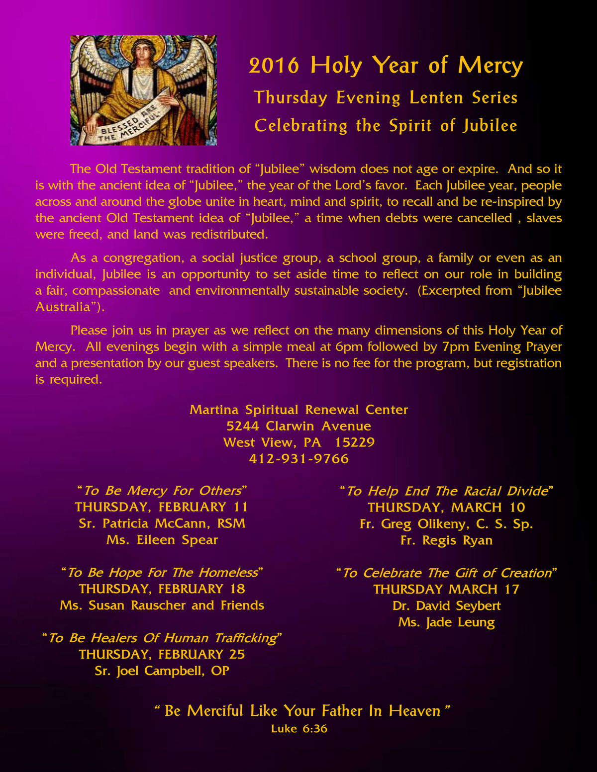 Sisters of the Holy Spirit » 2016 Holy Year of Mercy – Lenten Series